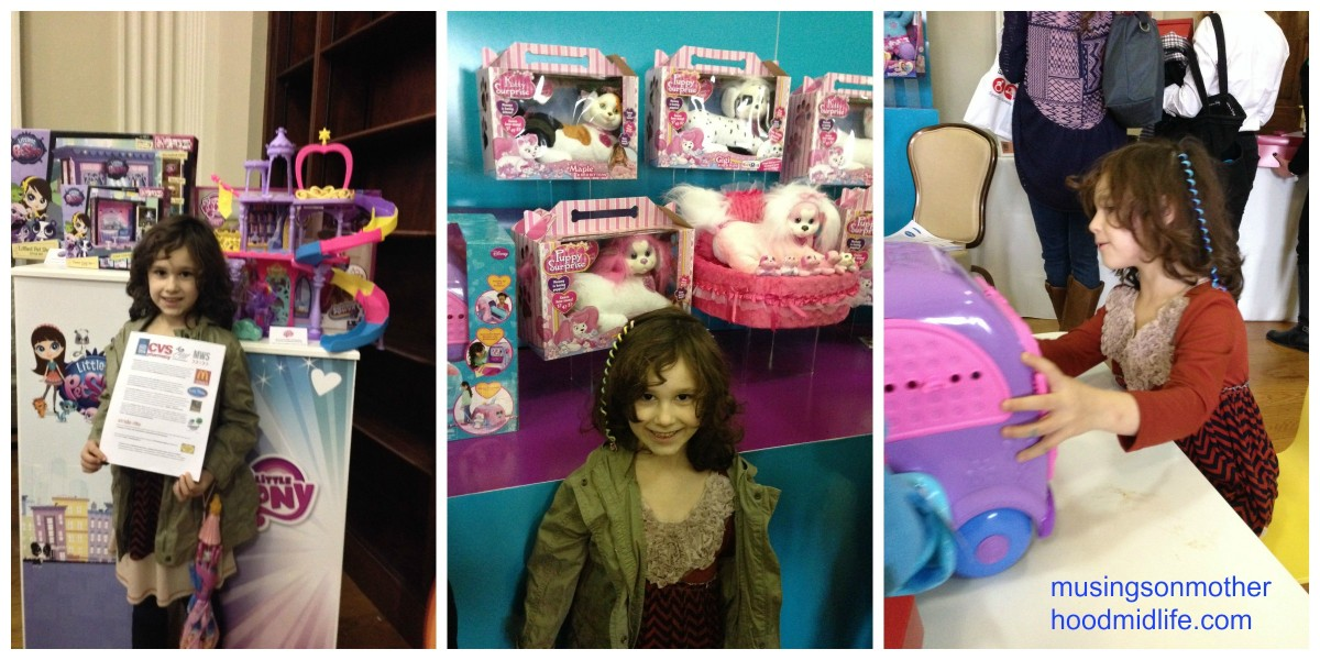 Playing with toys at Just Play and Hasbro at the Mom Mixer