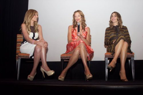 Denise Albert of The Moms interviewing Alysia Reiner and Sarah Megan Thomas. Photo: Courtesy The Moms.