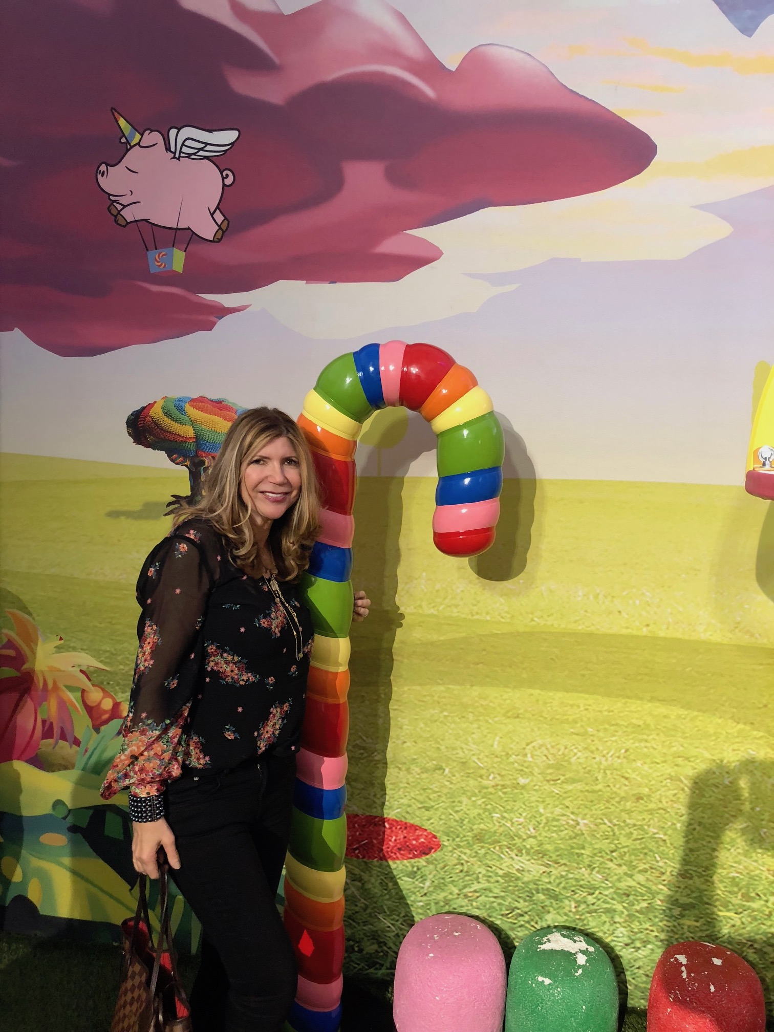 Wearing Cabi blooming blouse at Candytopia exhibit