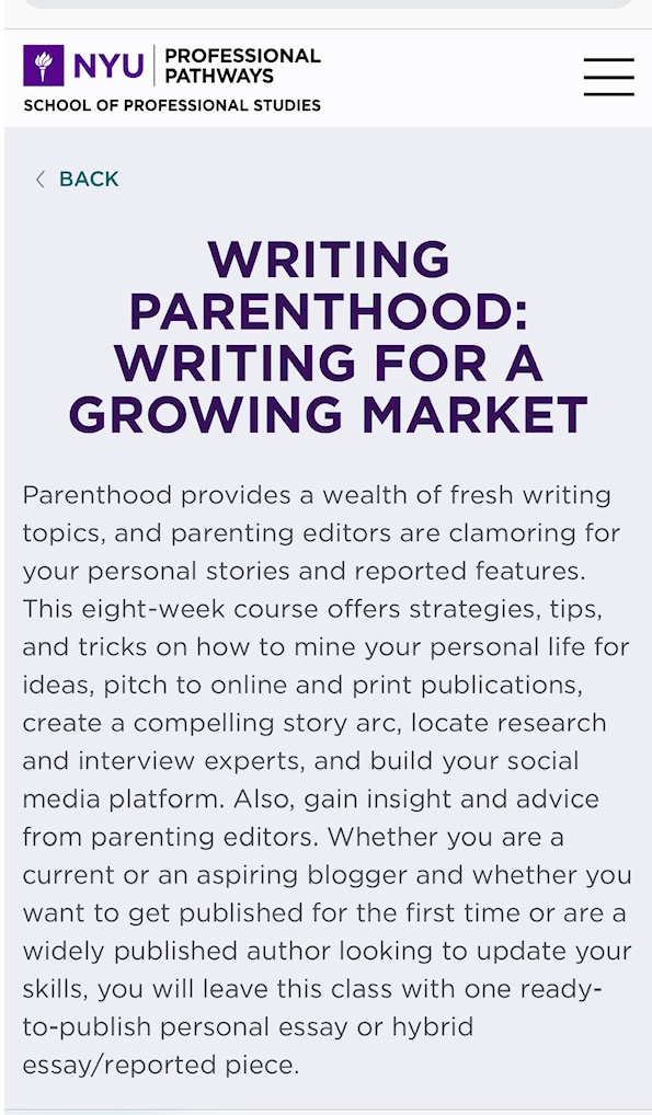 Writing Parenthood course taught by Estelle Erasmus at NYU